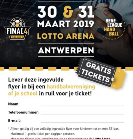 BENE-League Final4 weekend 30-30/3: gratis inkomtickets voor kinderen